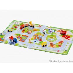 Tapis de jeu Ville avec 17 miniatures en bois Sevi
