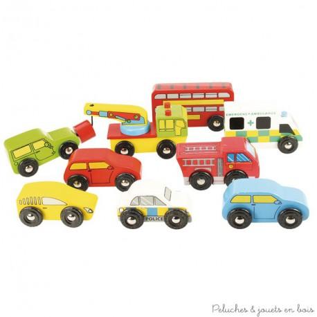 Bigjigs lot de 9 Véhicules & petites voitures en bois