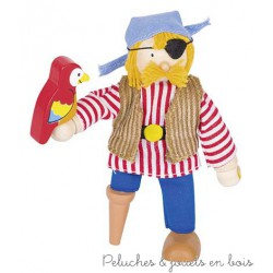 Goki Poupée Articulée Pirate au Peroquet