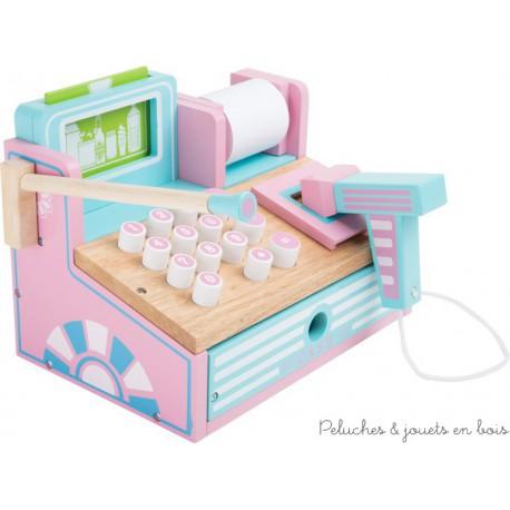 Caisse Pastel en bois pour boutique de marchande