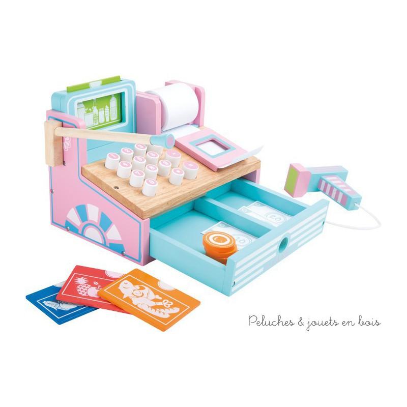 caisse en bois aux couleurs pastel pour jouer la marchande d s 3 ans. Black Bedroom Furniture Sets. Home Design Ideas