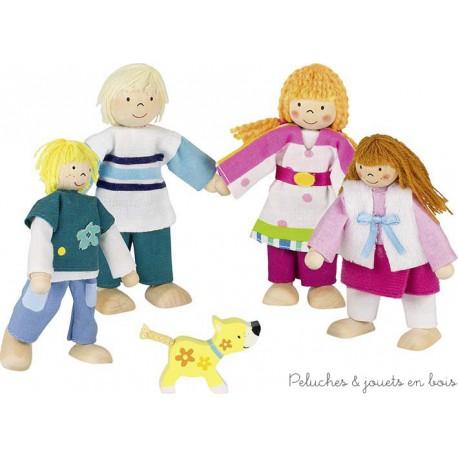 Goki Famille de 4 poupées articulées Susibelle + chien