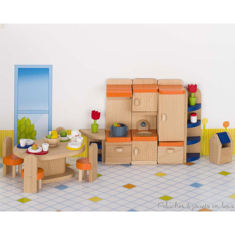 meubles de cuisine jouet en bois l 39 chelle d 39 1 maison de poup e 3 ans. Black Bedroom Furniture Sets. Home Design Ideas