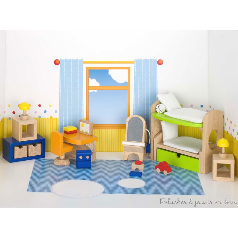 meubles en bois chambre d 39 enfants l chelle d 39 une maison de poup e. Black Bedroom Furniture Sets. Home Design Ideas