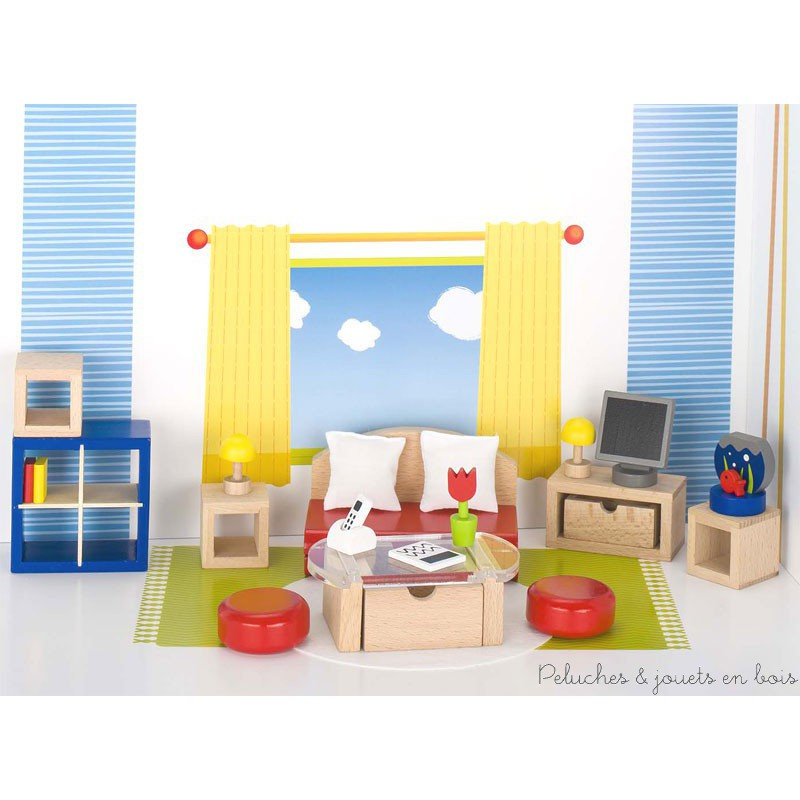 meubles pour maison de poup es salon peluches et jouets en bois. Black Bedroom Furniture Sets. Home Design Ideas