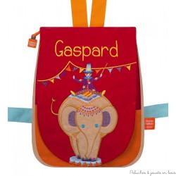Sac à dos Elephant Circus de bois Prénom à broder personnalisable