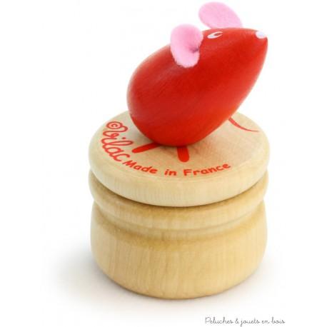 Vilac Boîte à dents de lait souris rouge en bois
