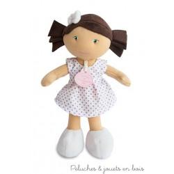 Doudou et Compagnie, Petite Demoiselle Brune Robe à Pois