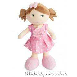 Doudou et Compagnie, Petite Demoiselle Chatain Clair Robe à Pois