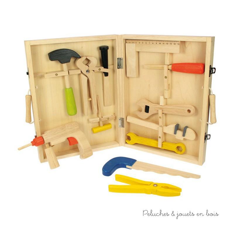 bo te outils enfant 3 ans 13 pieces tout en bois jouet. Black Bedroom Furniture Sets. Home Design Ideas