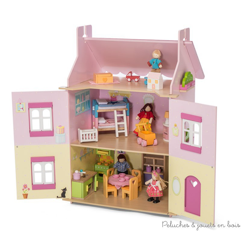 1 re maison de mes r ves maison de poup e rose en bois le toy van 3 ans. Black Bedroom Furniture Sets. Home Design Ideas