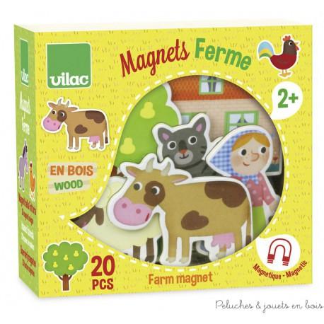 Vilac, Magnets de la ferme 20 pièces en coffret bois