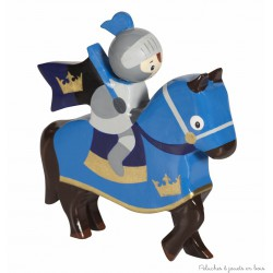 Le Coin des Enfants, Cavalier en bois peint Chevalier cheval Bleu
