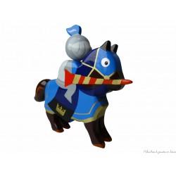 Le Coin des Enfants, Cavalier en bois peint Chevalier Tournoi Bleu