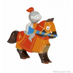 Le Coin des Enfants, Cavalier en bois peint Chevalier Tournoi Rouge