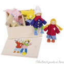 Goki poupées articulées en bois Birte et Ben boîte de vêtements