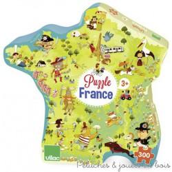 Grand puzzle en bois carte France boite hexagonale Jeu Vilac