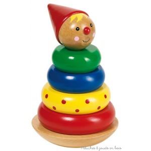 Culbuto bonhomme à empiler en bois Goki. Une pyramide de 6 pièces pour développer la coordination et la concentration de bébé H 13,7 cm diamètre 9 cm A partir de 2 ans+
