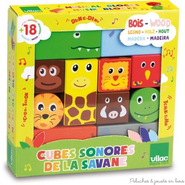 Un ensemble de 11 cubes sonores en bois sur le thème des animaux de la Savane signé Vilac. A partir de 18 mois+