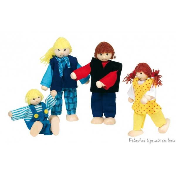 Une famille moderne de 4 personnages articulés en bois, papa, maman et 2 enfants convient à toutes les maisons de poupées Goki. Taille des personnages de 10 à 12 cm. Normes CE