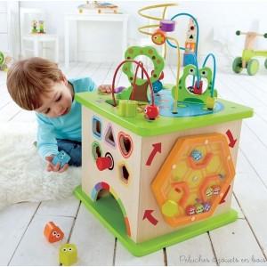 Un cube multi activités géant Country Critters en bois robuste. Un jouet de la marque Hape. A partir de 1 an+