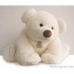 Un Gros'Ours couché géant de 90 cm, en peluche écru toute douce de la collection Bal'Ours de la marque Histoire d'ours. A partir de 0m+