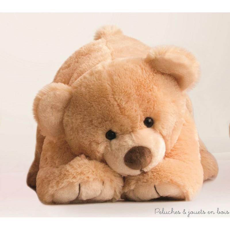 Un Gros'Ours couché géant de 50 cm, en peluche miel toute douce de la collection Bal'Ours de la marque Histoire d'ours. A partir de 0m+
