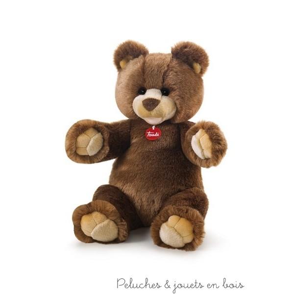 Ours en peluche brun Gedeone de la marque Trudi. Taille 46 cm. Dès la naissance.