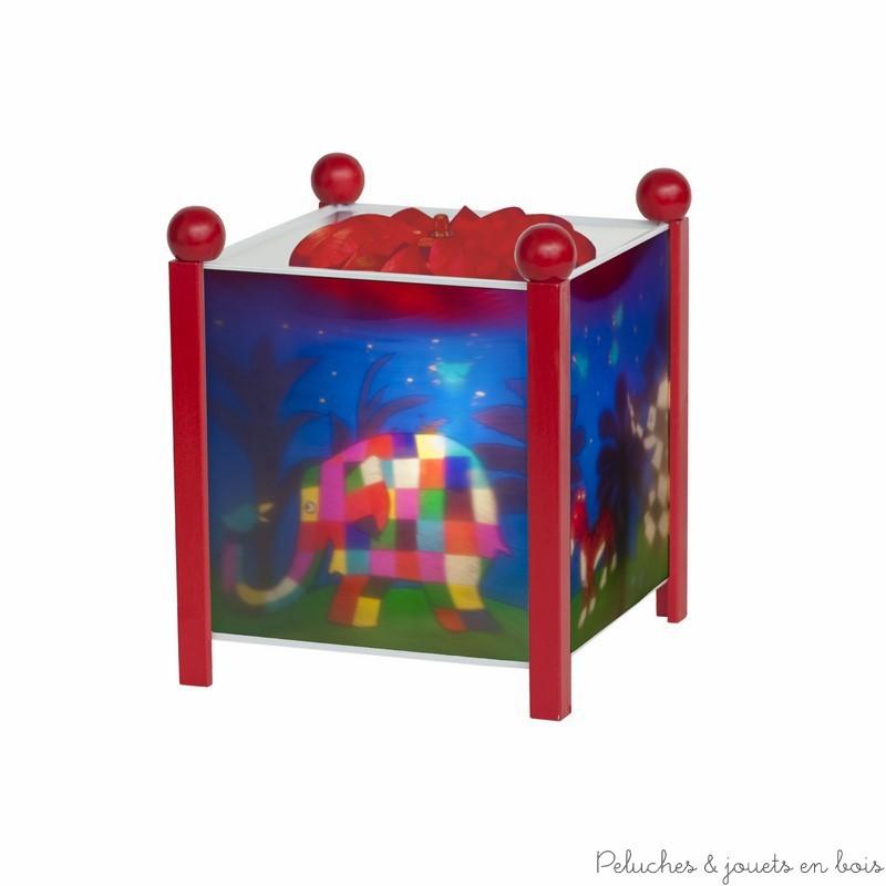 """Lanterne magique de la marque Trousselier sur le thème """"Elmer© l'éléphant"""" de couleur rouge. A partir de 0m+"""