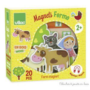 Un coffret de jeu magnétique en bois signé Vilac avec 20 pièces magnétiques en bois sur le thème de la ferme. A partir de 2 ans+