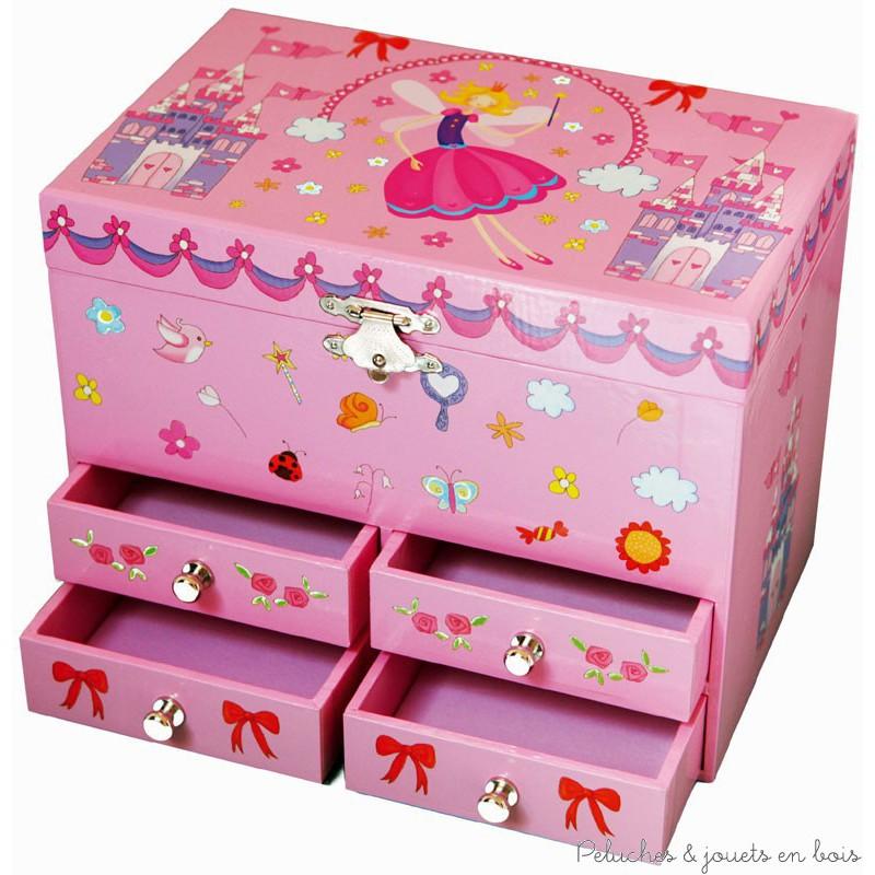 Une très grande boite à bijoux musicale sur le thème fée et château avec un coffre et 4 petits tiroirs de la marque Trousselier. A partir de 2 ans+