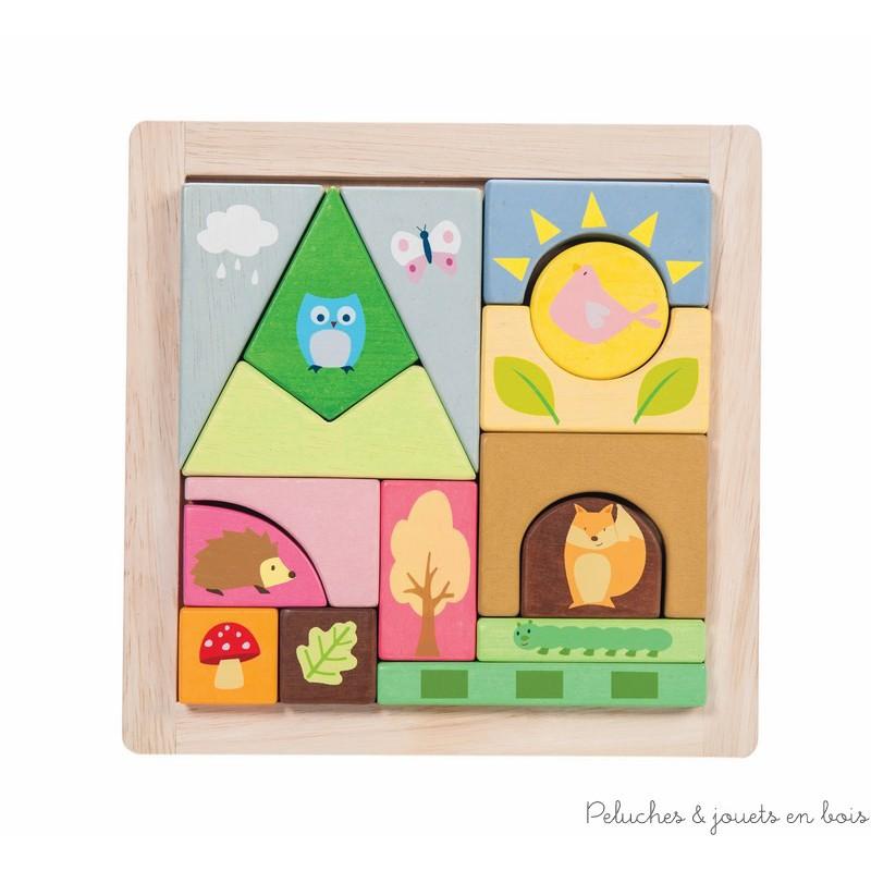 Dans la collection Petilou de la marque Le toy van, un joli puzzle en blocs de bois peint de 16 pièces. Il est illustré de décors boisés et des créatures de la forêt. A partir de 1 an+