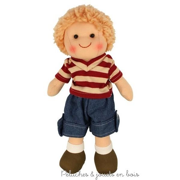 Une sympathique poupée de chiffon garçon Baptiste (prénommée Harry en anglais) de la marque Bigjigs. A partir de 0 mois +