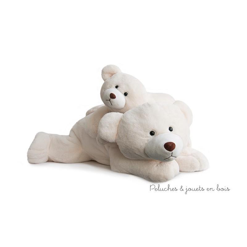 Snow Un ours polaire couché géant de 70 cm, en peluche écru toute douce de la collection classique de la marque Histoire d'ours. A partir de 0m+