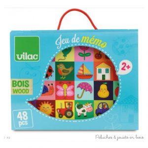 Un grand jeu de mémo imagier de 48 pièces en bois par Mélusine Allirol dans une jolie boite. Un ensemble signé Vilac. A partir de 2 ans+