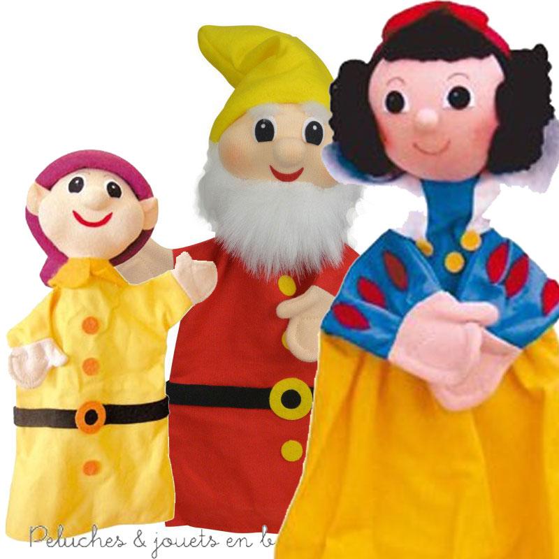 Ensemble de 3 Marionnettes à main personnage Blanche neige et les 7 nains