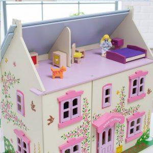 Bigjigs Grande maison de poupée en bois rose blanche mauve