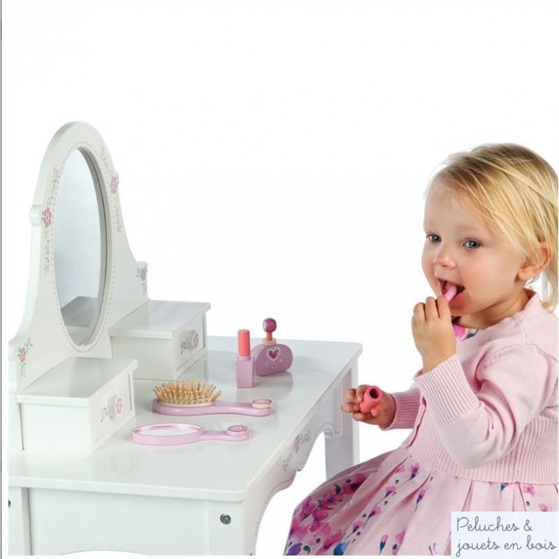 coiffeuse avec miroir, tiroirs et tabouret, meubles en bois T0067