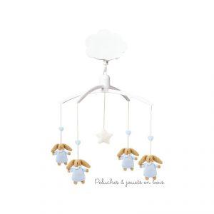 Un mobile musical de la marque Trousselier sur le thème lapin nid d'ange bleu ciel, adapté aux tout petits dès la naissance. Musique Roméo et Juliette