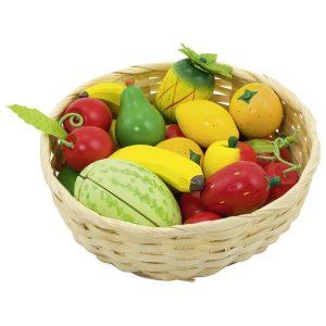 Un assortiment de fruits variés et colorés dans une corbeille de la marque Goki. Pour garnir les étals des petits marchands ou jouer à la dinette. A partir de 3 ans+