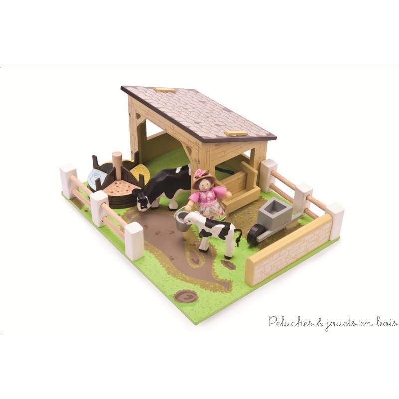 Etable Jaune avec ses Vaches jouet en bois Le Toy Van