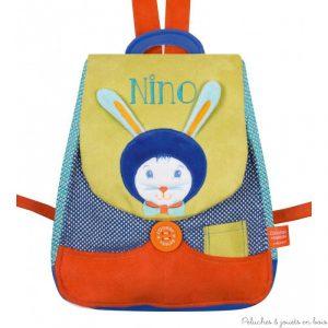 2 sacs a dos personnalisés au prénom de l'enfant sur le theme du lapin