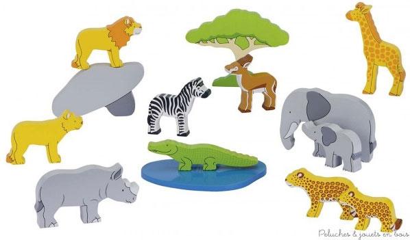 GOKI 20 ANIMAUX D'AFRIQUE EN BOIS PEINT