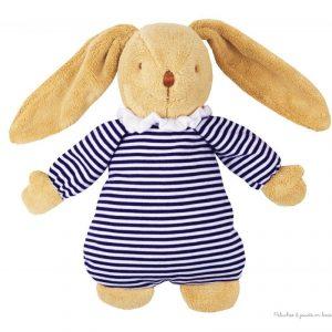 Doudou lapin boite à musique, ce lapin musical nid d'ange Marinière de la marque Trousselier est adapté aux tout petits dès la naissance. A partir de 0m+