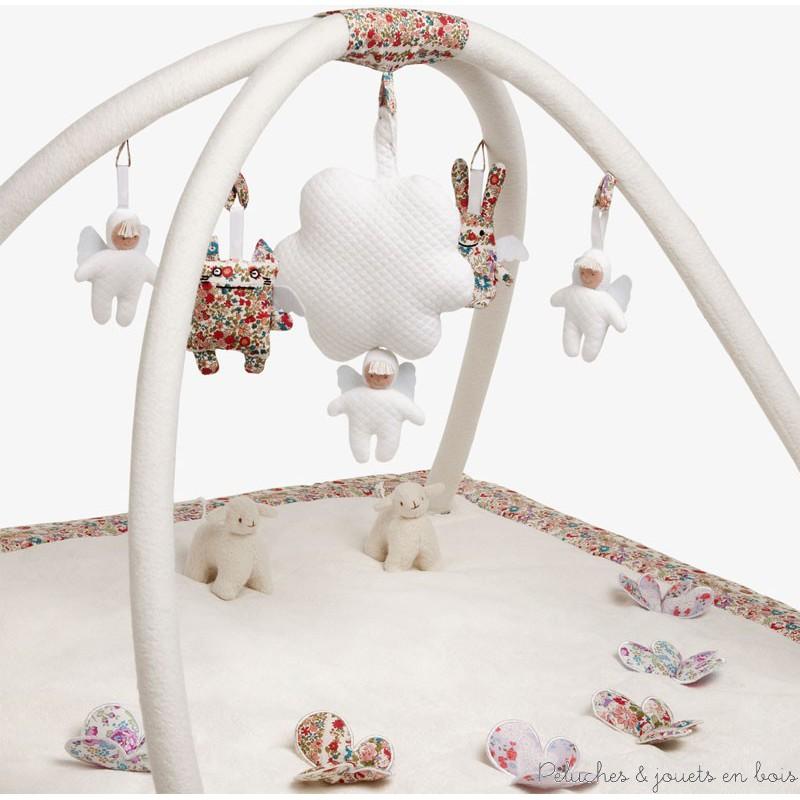 Trousselier Tapis d'éveil musical carré ivoire et Fleurs VM10000 01