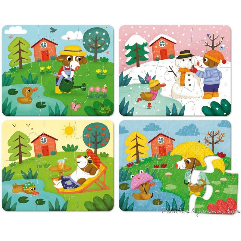 Un coffret de 4 puzzles de 6 pièces chacun en bois sur le thème des saisons signé Vilac. A partir de 2 ans+