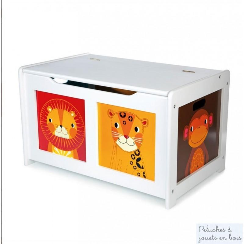 Ce coffre de rangement convient parfaitement pour contenir de nombreux jouets il est en bois plaqué blanc avec un design moderne et très gai pour la déco de chambre d'enfant, signé de la marque Tidlo distribué par Bigjigs. A partir de 3 ans+