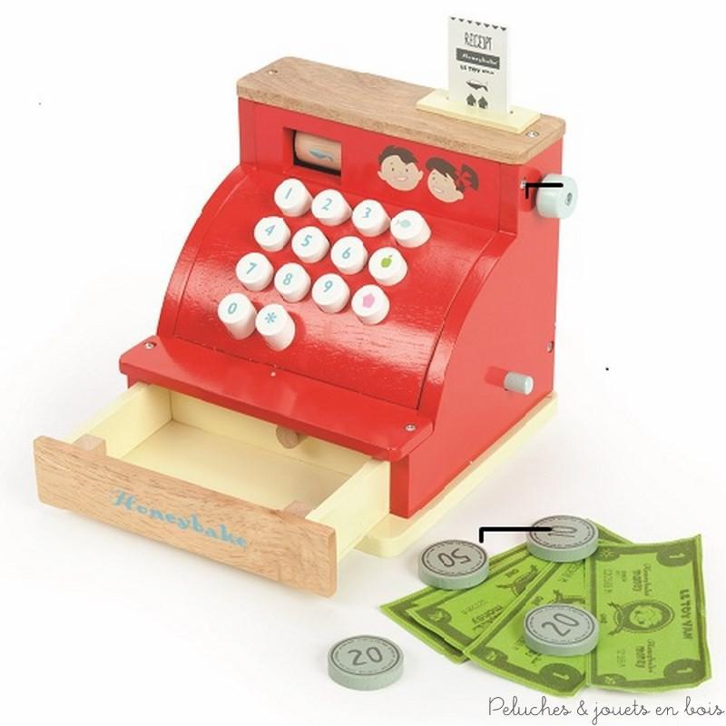 Une caisse enregistreuse en bois peint aux couleurs vives de la marque Le Toy Van. A partir de 3 ans+