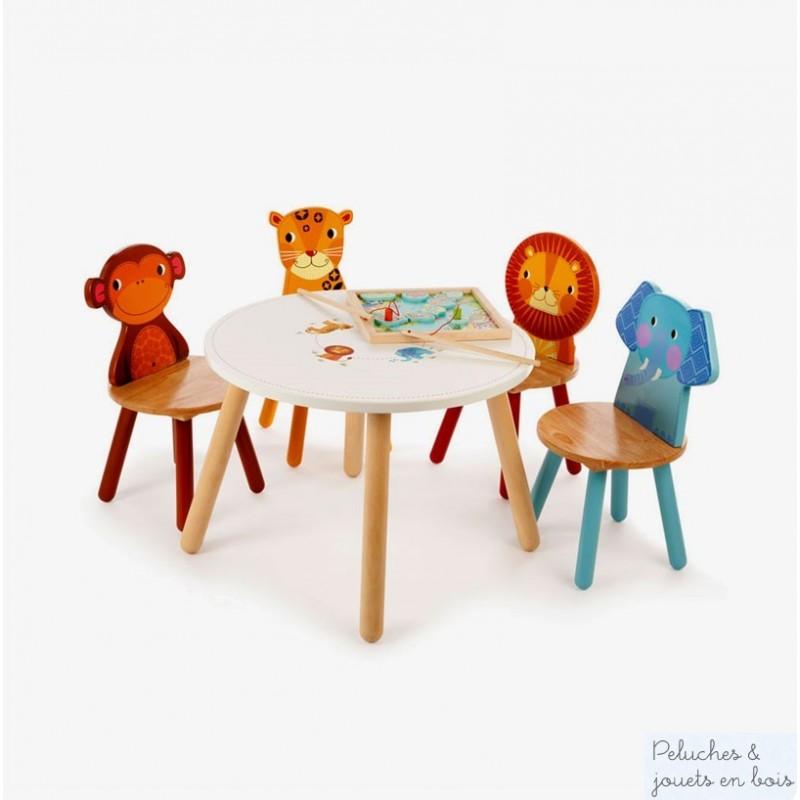 TABLE ET 4 CHAISES EN BOIS JUNGLE MOBILIER ENFANT TIDLO