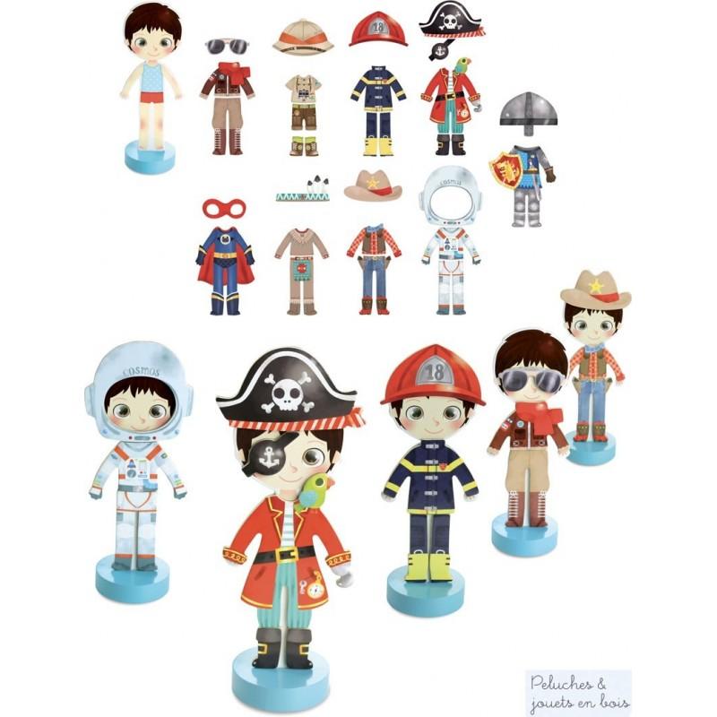 Le dressing des aventures d'Arthur comprend comprend une figurine et ses 34 vêtements et accessoires. Un coffret de 35 pièces magnétiques en bois signé Vilac. A partir de 3 ans+